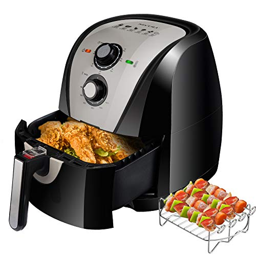 Secura Electric Hot Air Fryer Extra Large Capacity Air Fryer and additional accessories; Recipes and skewers accessory set (5.3Qt Gray)