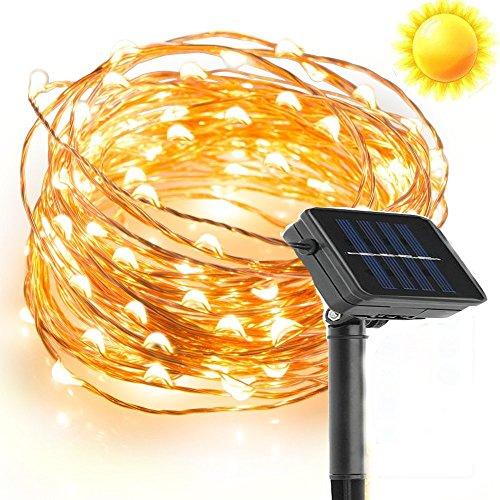 Lumière Solaire de Chaîne de Cuivre, EONHUAYU Lumières de fil de Cuivre de 10M / 33 Pieds 100 LED avec pour le Jardin de Mariage de Partie D'arbre de Noël Décorer