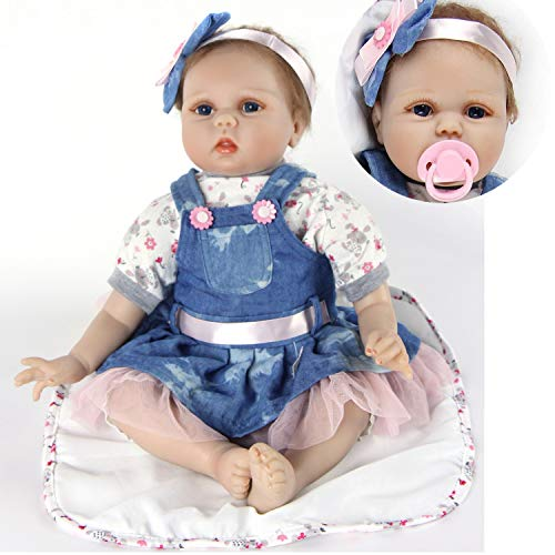 ZIYIUI Realistica 55 cm Bambola Reborn Bambina Bambole Reborn Femmina Bambolotti di Silicone Reborn Babys Dolls Ragazza Bambini Giocattoli 22 Pollice