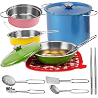 Colorful Metal Pots and Pans Kitchen Cookware Playset for Kids with Cooking Utensils Set Model: by Toys & Child