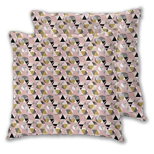 FULIYA Fundas de almohada decorativas de 2 piezas, diseño abstracto moderno, con diferentes formas de triángulo, estilo dibujado a mano, fundas de almohada de 40,6 x 40,6 cm con cremallera.
