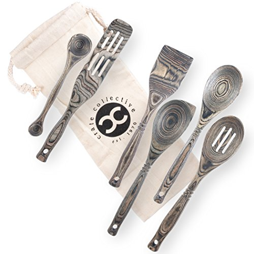 Crate Collective Pakkawood Kitchen Utensil Set - 6 Piece Cookware Set with Wooden Measuring Spoons, Spatulas, Spoon, Spurtle - Non Stick, Eco Friendly, Exotic Cooking Utensils for Kitchen & Gifts