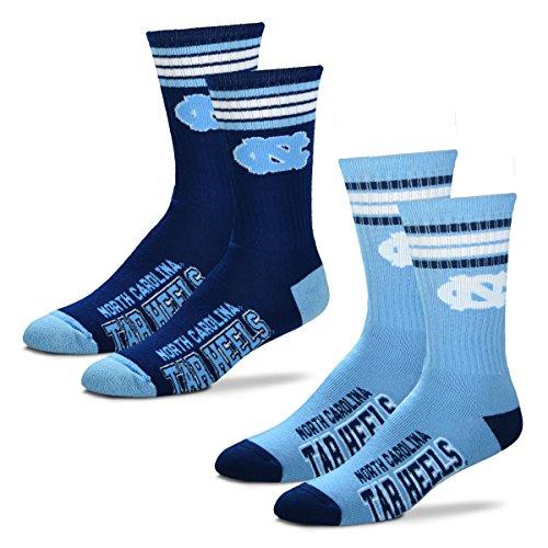 For Bare Feet Men's 4 Stripe Deuce Crew Socks-North Carolina Tar Heels-Large-2 Pack