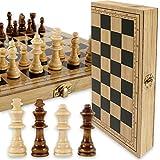 LAOZZI Tablero de ajedrez, Juegos de ajedrez, Juego de ajedrez de Madera, Tablero de ajedrez de Viaje Plegable, Juego de Mesa de borradores, Juegos educativos y Juegos de Mesa y Juegos Tradicionales