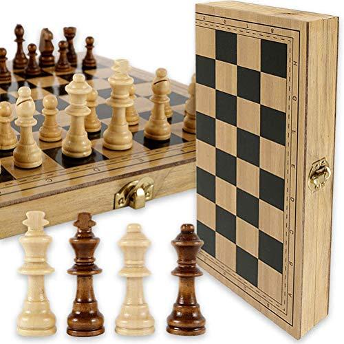 Tangshi Tabuleiro de xadrez de madeira com interior de peças de xadrez para armazenamento portátil, dobrável, tabuleiro de xadrez, jogos educativos, presente