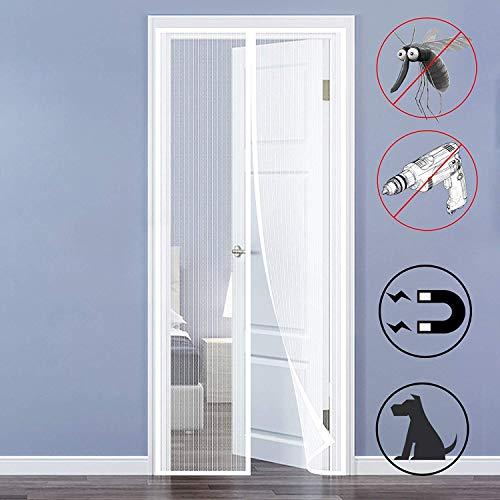 Magnet Fliegengitter Tür Magnetvorhang Tür Insektenschutz mit Heavy Duty Mesh, für Balkontür Wohnzimmer Terrassentür - Weiß