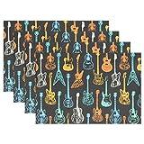 zzzswbl Table Mats Set Estilo Fresco Guitarra Vívida Hotel Decorativo Lavable Colorido Manteles Set Home Set De 6 Manteles De Cocina De Interior Set Divertido Duradero Bodas Clásicas Vaca