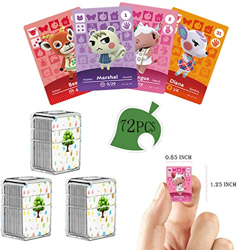 72 PCS NFC Tag Game Cards Rare Villager para Animal Crossing New Horizons con Caja de Almacenamiento de Cristal, Adecuado para Switch/Switch Lite/Wii U/New 3D (Animal Series 1-4)
