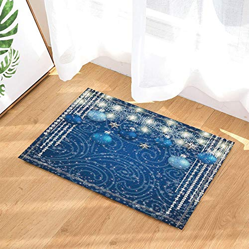 123456789 Decoración navideña Bolas Azules Estrellas Plata Luces Copo Nieve para el Año Nuevo Alfombras baño...