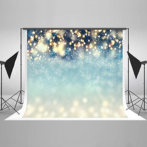 Kate 7×5ft(2.2×1.5m) Navidad Fondo Fotografia Invierno Fondo de Copos de Nieve Puntos Bokeh Fondo Fotografia para Decoración de Fiesta Azul