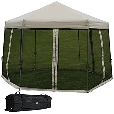 Sunnydaze Penthouse Quick-Up Instant Hexagon Canopy Gazebo with Mesh Screen Sides and Rolling Bag, 12 Foot, Grey