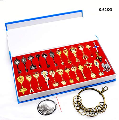 Fairy Tail 25Pcs Lucy Heart Key Chain Celestial Spirit Gate Pendant Set Keychain for Children Christmas Thanksgiving Day Birthday Gifts