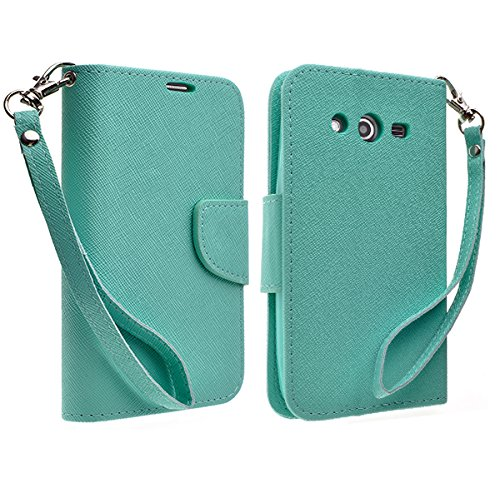 Galaxy Wireless Hybrid Dual Layer Diamond Case for Samsung Galaxy Avant G386 (T-Mobile) (Black Wallet Pouch) (Teal)