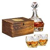 MX Lifestyles Crystal Palace - Whisky Set mit 2 Gläser und 1 Karaffe aus Kristallglas, Perfekt als Geschenkset für Männer oder als Geschenk für Liebhaber von Spirituosen wie Whiskey