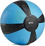 POWRX - Balón Medicinal 2 kg + PDF Workout (Azul)
