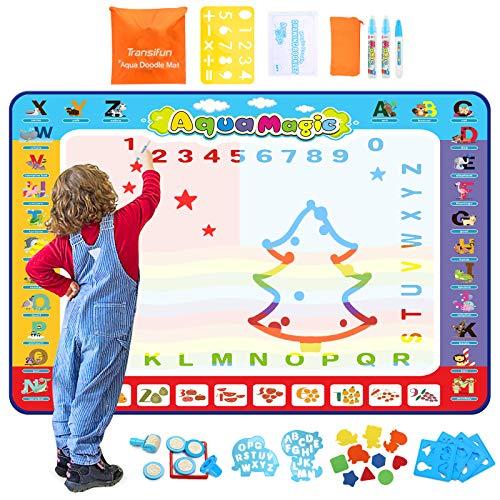 Transifun Wasser Doodle Matte, Malmatte 150 * 100cm, Doodle Zeichnung Matte mit 26 Zubehör Lernspielzeug & Tolles Geschenk für Kinder ab 2 Jahren