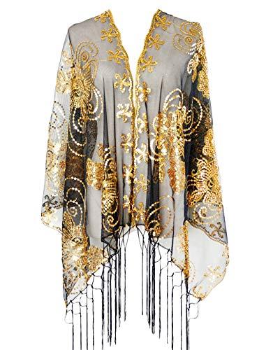 L'VOW Retro Damen 20er jahre Gatsby Umschlagtücher Stola für Abendkleid Hochzeit Braut Pailletten Schal Flapper Kostüm Accessoires (Gold und Schwarz)