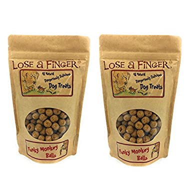 Lose A Finger Treats for Training Dogs - Compatible with Video Pet Cam Furbo Petzi Petcube - Funky Monkey Banana and Peanut Butter Balls (2 x 8oz Large Bags) - Made in USA