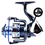 GOLD SHARKING Ultra Smooth Powerful Spinning Fishing Reel for Saltwater Freshwater 14 Corrosion Resistant Bearings Left Right Interchangeable Lightweight (1000, GTS)