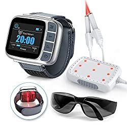 Laser Therapy Wrist Watch, Red Light Pain Relief Therapy Device, Low Intensity Acupuncture Infrared Light for Knee, Shoulder, Rhinitis, 4 Power Mode/ 4 Timer for Human and Animal