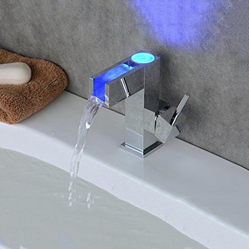 LHTCZZB Válvula mezcladora Art Deco/Moderno LED extendido/extendido con válvula de cerámica Manija única Un Agujero para bañera de Cromo