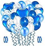 Evance 94Piezas Globos de Látex Azules y Blancos, Foil Globo, Globos de Confeti, Globos para La Boda Aniversario, Globo de Cumpleaños Fiesta Decoración (Azule & Blanco)
