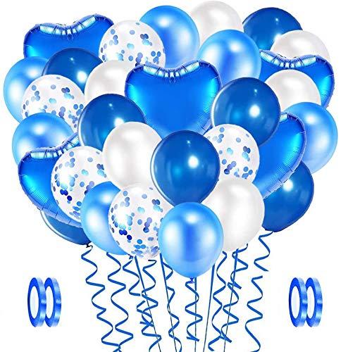 Evance 94 Pezzi Palloncini in Lattice Bianco Blu, Foil Palloncini, Palloncini coriandoli, Elio Pallone per Anniversario, Decorazione Feste di Matrimonio Compleanno Palloncino (Blu & Bianchi)