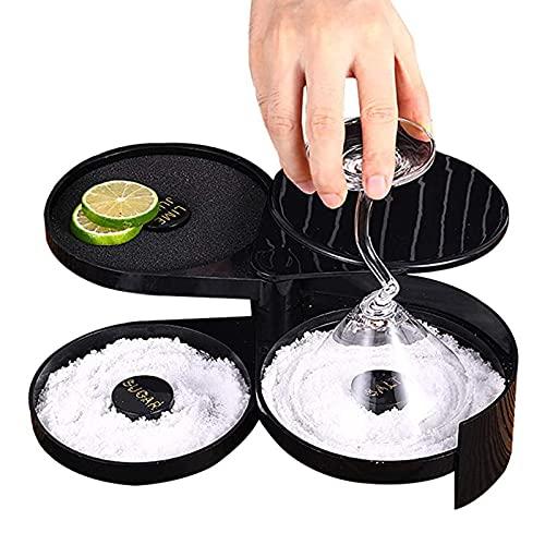 Caja de sal de tres capas para bartending, 3-bandeja de cristal de plástico negro Rimming 3 compartimentos Azúcar Lime Jugo Sal Vidrio Rimmer Bandeja para cócteles M black