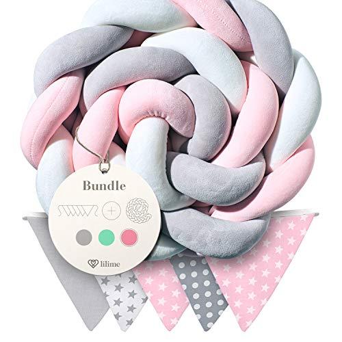 lilime® Bettschlange geflochten Inkl. GRATIS Wimpelkette – Schadstoffgeprüft – Super weiche Bettumrandung geflochten - Babybettumrandung Babybett - Baby Nestchen – Bettschlange(2m/Grau-Weiß-Pink)