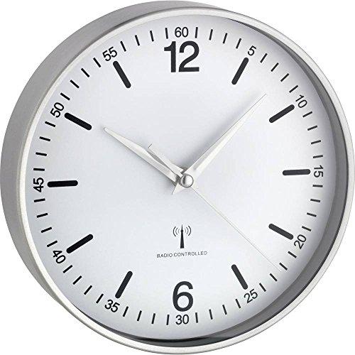 TFA Dostmann Aluminium Funk-Wanduhr, weiß, 19.5x4.5x19.5 cm