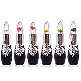 6Pcs/Set Lippenstift-Set, Crystal Jelly Blume Lippenstift Temperatur ändern Farbe Lippenstift helle Lippenstift Make-up (C)