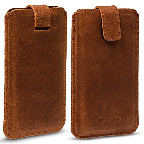 NAUC Honor 7X Smartphone Lederhülle Pull Tab Handy Sleeve Hülle Hülle Schutz Cover Bag, Farben:Cognac Braun