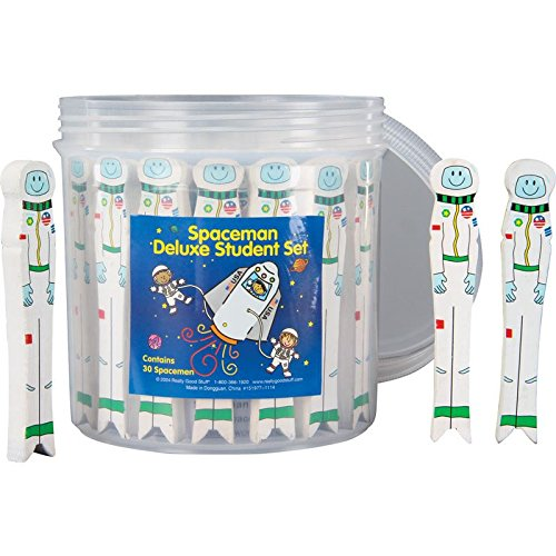 Really Good Stuff 151977 Spaceman Deluxe Student Set – Includes 30 Spacemen in a Reusable Storage Container – Fun, Interactive, Easy Way for Students to Learn Proper Word Spacing,Assorted