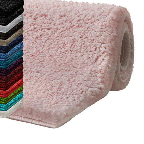 casa pura Badematte Hochflor Sky Soft | Weicher, Flauschiger Badezimmerteppich in Shaggy-Optik | Badvorleger rutschfest waschbar | schadstoffgeprüft | 16 Farben in 6 Größen (70x120 cm, rosa)