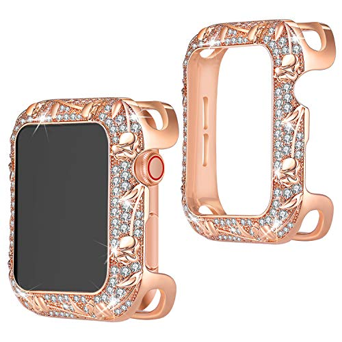 TOMAZON Bling Case Compatible for Apple Watch 44mm SE Series 6 5 4, Stainless Metal Floral Carved Shiny Jewelry Crystal Diamond Protective Cover Bumper Case for Women Girl, Rose Gold