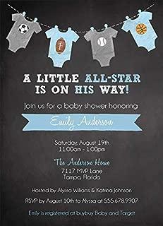 Sports Baby Shower Invitation Boys Soccer Football Baseball Basketball MVP Little Champ All Star Blue It's A Boy Chalkboard (10 Count)