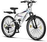 Licorne Bike Premium Mountain Bike Strong da 26 pollici, bicicletta per ragazzi, ragazze, donne e uomini, con cambio a 21 marce, sospensioni complete, bianco/viola, 26 inches
