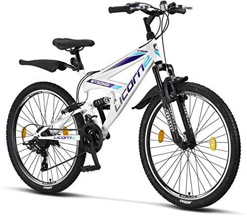 Licorne Strong Bike - Bicicleta de montaña prémium de 26 pulgadas, para niños, niñas, mujeres y hombres, cambio Shimano de 21 velocidades, suspensión completa, blanco/morado, 66,04 cm