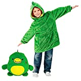 Chind Blanket Sweatshirt Huggle Pets Hoodie Plush Animals Turn Into Oversized Hooded Sweatshirt with Giant Pocket Pullover Jumper Bathrobe Pajama Pillow One Size Fits All (Green)