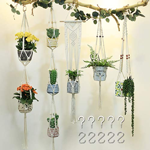 JOOIKOS 5 Pack Macrame Plant Hanger Hanging Plant Holder Hanging Plant Stand Flower Pots Boho Decor for Indoor and Outdoor - Handmade Cotton Rope, 5 Sizes