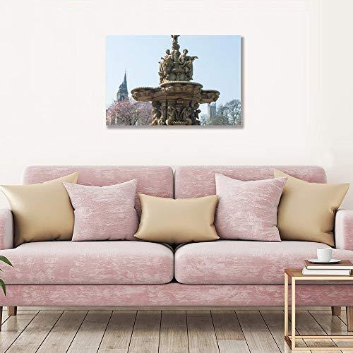 Tamengi Ross Brunnen Edinburgh Castle Scotland Kunstdruck auf Leinwand, 40 x 60 cm, Leinwand-Kunstdrucke, ungerahmte Poster für Wohnzimmer, Schlafzimmer, Home Office Decor