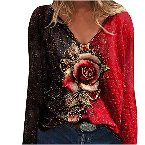 Camiseta de manga larga para mujer, elegante, con diseo de flores, cuello en V, holgada, para primavera y otoo, holgada, holgada, informal, cmoda y ligera, A-rojo., M