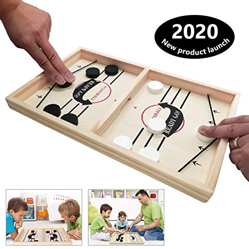 Toydaze Fast Slingpuck Disc-Shooting Dexterity Pucket Game for Pub Party Family, Fast Sling Puck Air Hockey Foosball Desktop Board Game, Stress Relief Travel Camping Game for Hockey Fans of Any Age