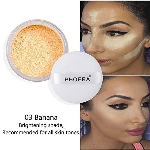Aesy 4 Couleurs Lâche Poudre Pour Le Visage Translucide Lisse Réglage Fondation Maquillage Cosmétique Concealer Poudre (Banana)