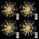 Lixada Luces LED de fuegos artificiales, 150 ledes, cadena de luces de Navidad con mando a distancia, lámpara decorativa colgante para interior y exterior, fiestas, bodas y jardines (4 unidades)