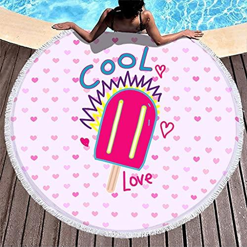 Gamoii Toalla de playa redonda con diseño de corazones, de secado rápido, ultraabsorbente, con flecos, para adultos, niños, viajes, meditación, color blanco, 150 cm