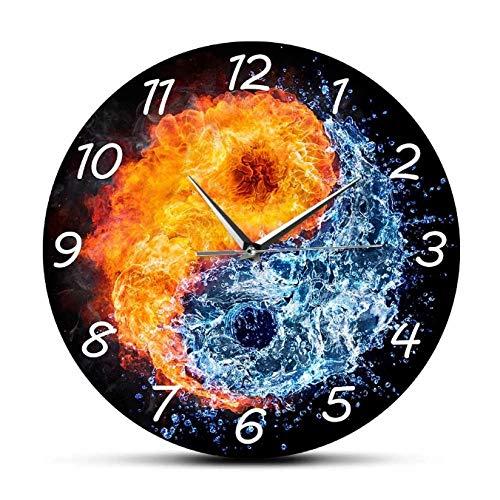orologio da parete zen mazhant Fuoco e Acqua Orologio da Parete Yin Yang Balance Yoga Design Moderno Movimento Silenzioso Orologio da Parete Zen Home Decor SpiritualTaiji Wall Art-30X30cm