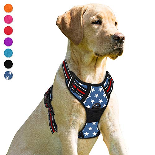 BARKBAY No Pull Dog Harness Front Clip Heavy Duty Reflective Easy Control Handle for Small Medium Large Dogs(Star,M)