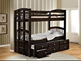 Acme Micah Twin/Twin Bunk Bed with Trundle, Espresso Finish
