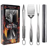 Heavy Duty BBQ Grilling Tools Set - Professional Grade 18' Long Stainless Steel 4-Piece Barbecue Grill Kit includes Over Sized Spatula, Fork, Tongs & BBQ Mat - Perfect BBQ Gift For Your BBQ Lover